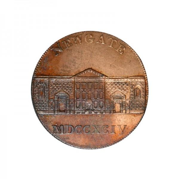 GREAT BRITAIN  -  1794 Newgate, 1/2 Penny Token, VF TOKENS - JETONS